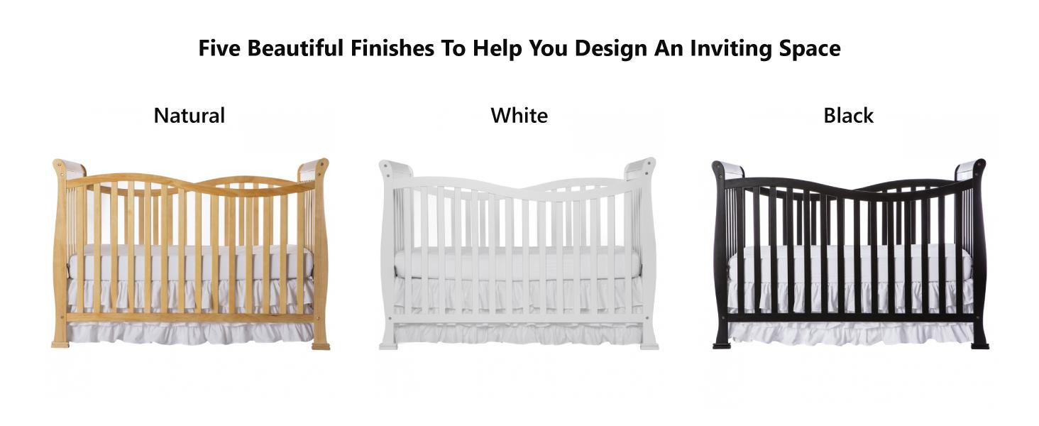 black crib, white crib, red crib, brown crib, gender neutral crib, cherry crib, espresso crib, grey