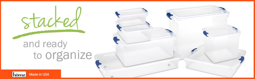 Clear storage, organizing, organization, closet, plastic, made in the USA, tote, container, bin