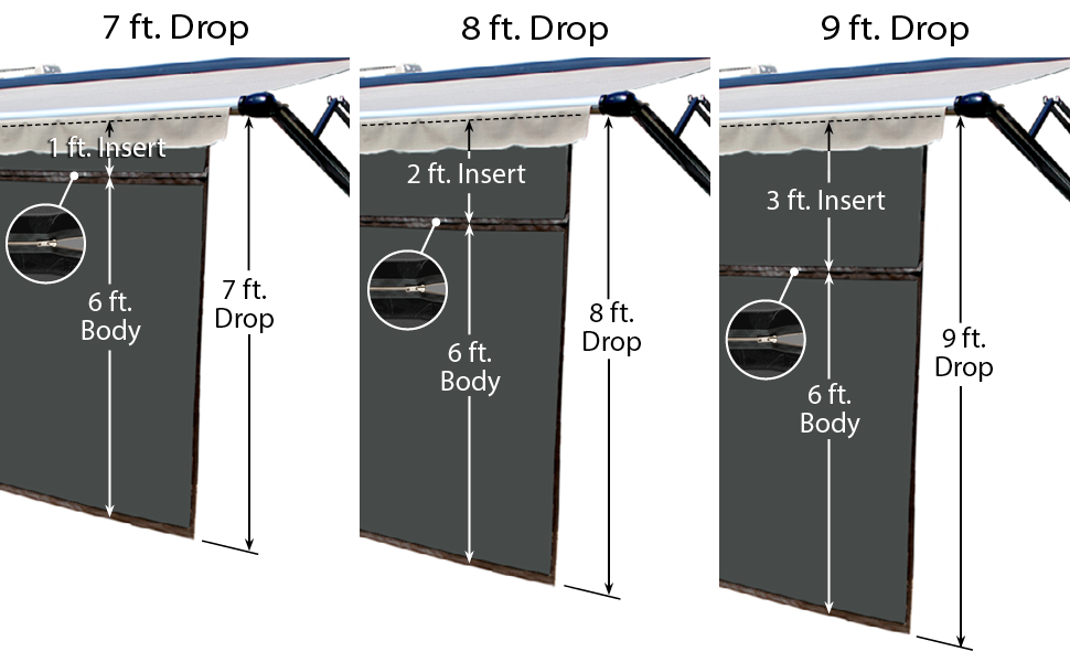 EZ Zip Blocker, Shade, drop, measurement, height, sun, camper, RV, awning