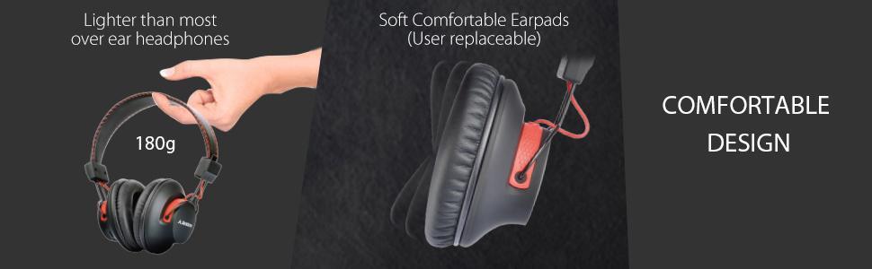 lightweight comfortable over ear headphones
