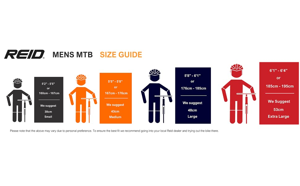 Mens MTb Size Guide