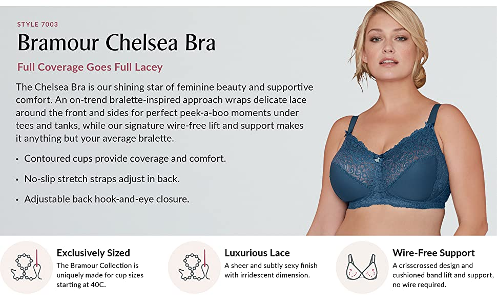 chelsea lace cups full coverage adjustable wire free bramour luxury lingerie full figure