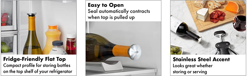 OXO SteeL Expanding Leakproof Wine Stopper, (2 Pack)
