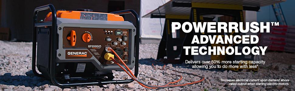 PowerRush Technology, GP3500iO, PowerRush, advanced technology, Generac, inverter power, portable