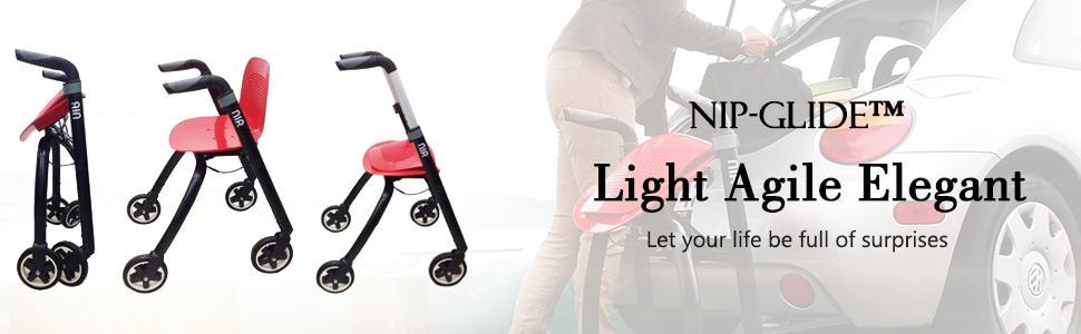 Amazon.com: BC2 NIP Glide Andador ligero de aluminio médico ...