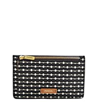 fossil logan zip card case, women's wallet, leather wallet, women's keychain wallet