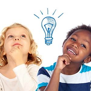 Two children with a lightbulb over their heads