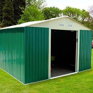 GARDIUN KIS12804 - Caseta Metálica Bristol 7,74 m² Exterior 241x321x205 cm Acero Galvanizado Verde: Amazon.es: Bricolaje y herramientas