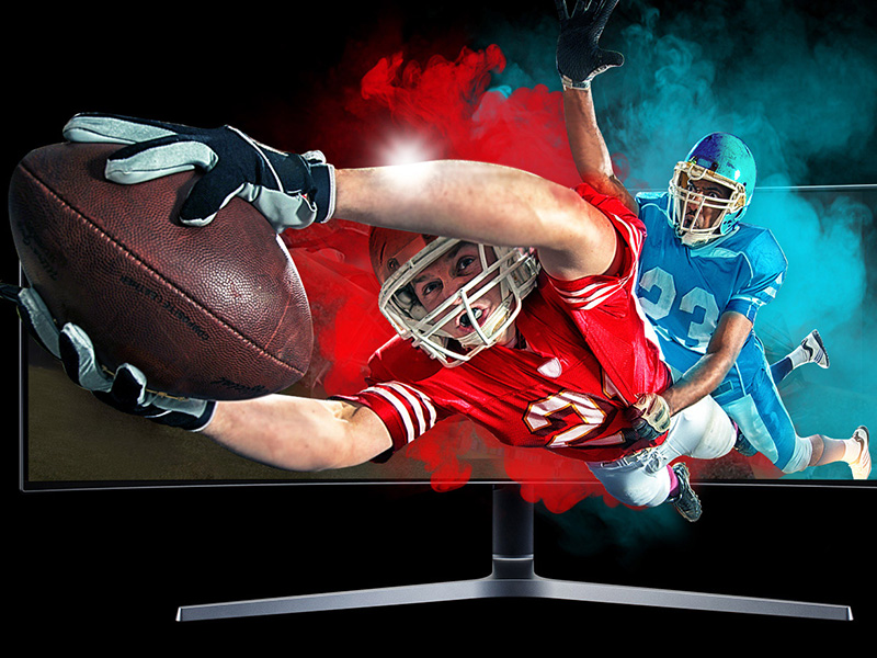 Front view of the Samsung QLED Gaming Monitor to show the Quantum dot technology