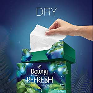 dryer sheets, downy infusions sheets for dryer, refreshing scent, fabric softener, clothing, drying