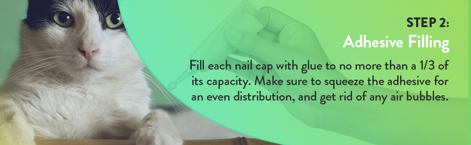 Step 2: Adhesive Filling - file each nail cap with glue to noe more Thant