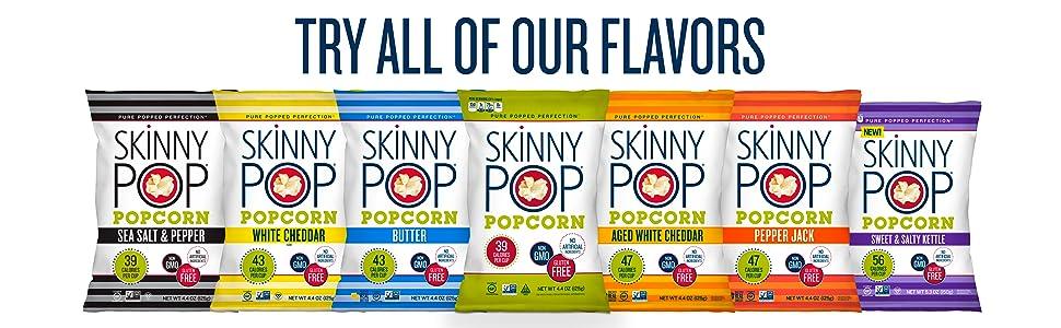 popcorn flavors healthy snacking skinny pop butter white cheddar pepper jack kettlecorn kettle corn