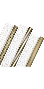Kraft, black amp; gold wrapping paper with DIY bow templates on reverse for weddings, Christmas amp; more