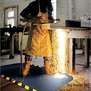 Hog Heaven mat, safe, comfortable, anti-fatigue, weld proof, industrial mat, durable, caution border