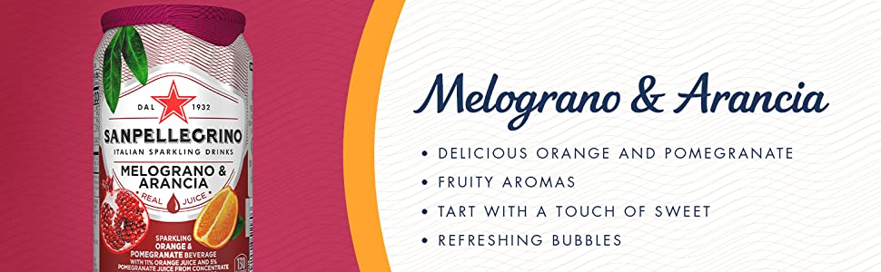 Melograno e Arancia Pomegranate Orange Italian Sparkling Fruit Drinks Beverages S.Pellegrino