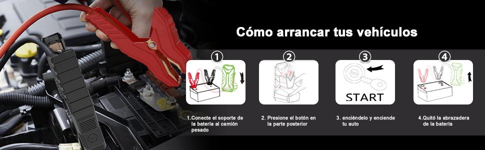 JUMTOP Arrancador de Coches 24V-QDSP 4000A 33600Mah Arrancador Bateria Coche (Máximo 15L Motor Diesel) Arranque Batería para vehículo con Pinzas inteligentes,Dos ...