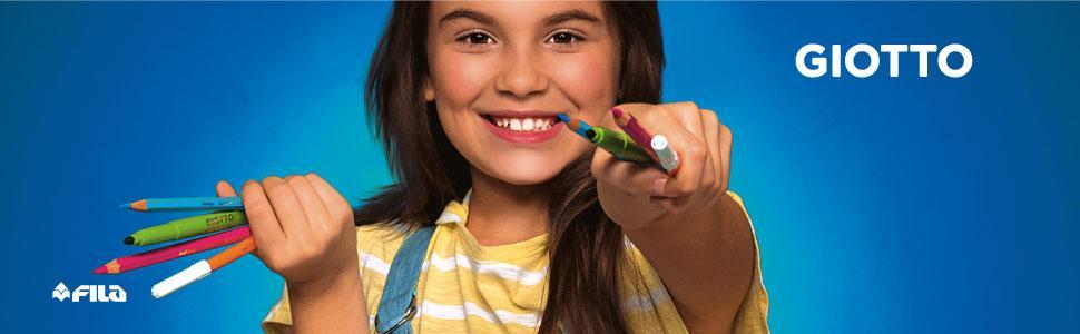 giotto; colori per bambini; matite; pennarelli; tempere