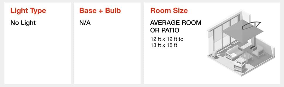 Light type, no light, room size, average room, patio