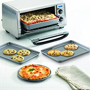 Farberware 57775 Nonstick Bakeware Toaster Oven Set with Nonstick Baking Pans Gray Cookie Sheets and Baking Sheets 4 Piece