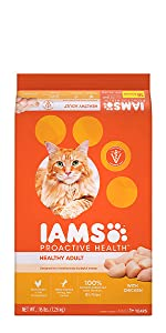 Iams Healthy Adult Dry Cat Food, Dry Cat Kibble, Food for Cats, Crunchy Kibble, Dry Food