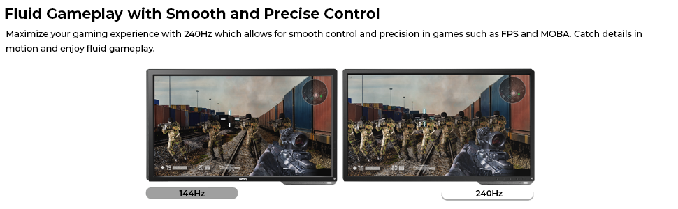 smooth precise control gaming experience fps moba esports 144hz 240hz asus acer rog zowie benq