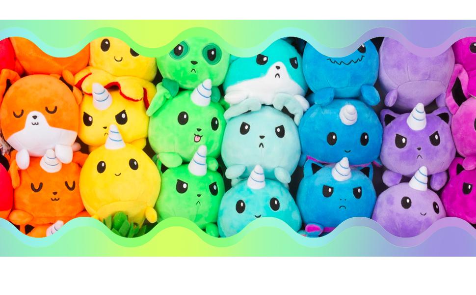 rainbow cute plush narwhal stuffed animal adorable fun reversible