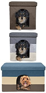 footstool; ottoman; living room; pet house; dog; cat; bed