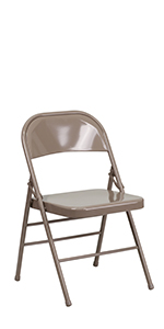 HERCULES Triple Braced amp; Double Hinged Black Metal Folding Chair