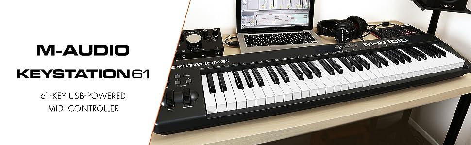 61-Key USB MIDI Keyboard Controller with Pitch-Bend & Modulation Wheels