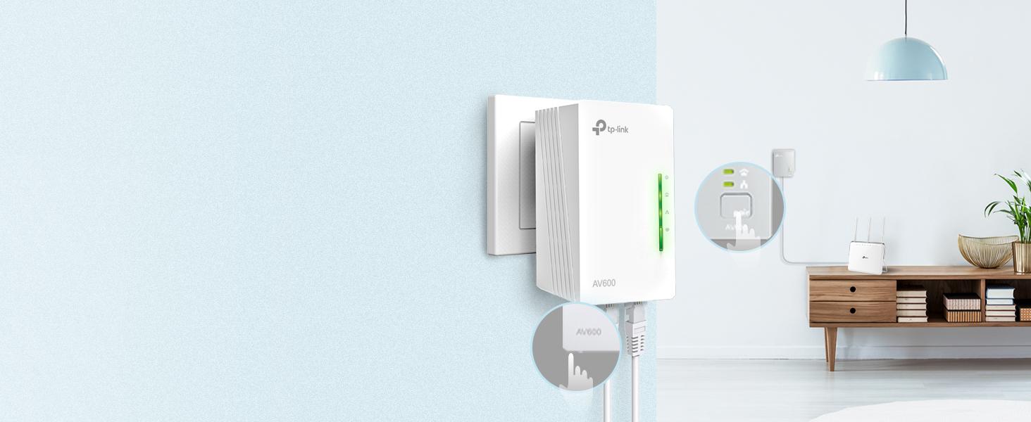 TP-Link TL-WPA4220 - Extensor Powerline AV600 a 300Mbps por Línea Eléctrica, HomePlug AV, PLC con Wifi, 2 Puertos Ethernet 10/100Mbps, 1 pieza