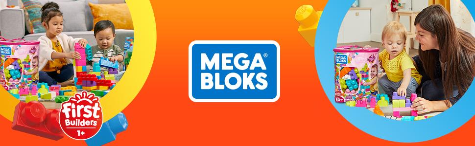 Mega Bloks Juego de construcciones 80 piezas con bolsa ecológica rosa, juguete bebé +1 año (DCH62)