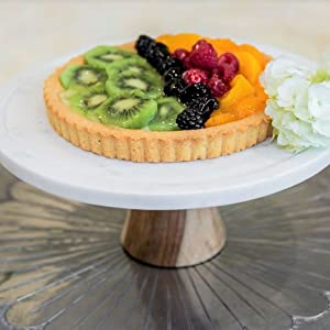 white marble wood wooden cake stand dessert tray pie plate cupcake pastry fruit cheese