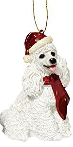 Christmas Ornaments - Xmas White Poodle Holiday Dog Ornaments