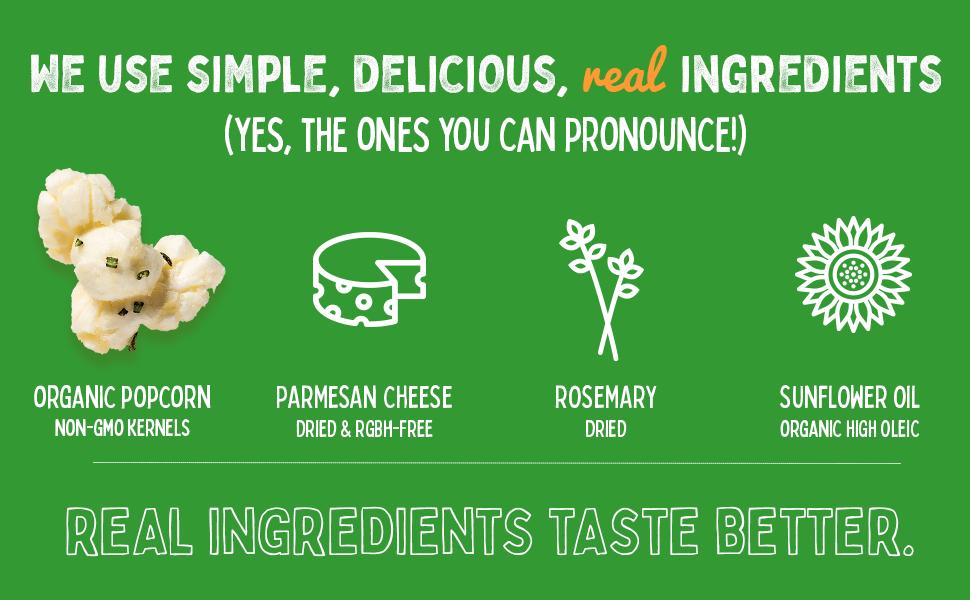 real organic ingredients organic popcorn kernels rosemary parmesan cheese organic oil