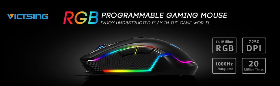 VicTsing Pro Gaming Mouse Wired, 16 8 Million Chroma RGB