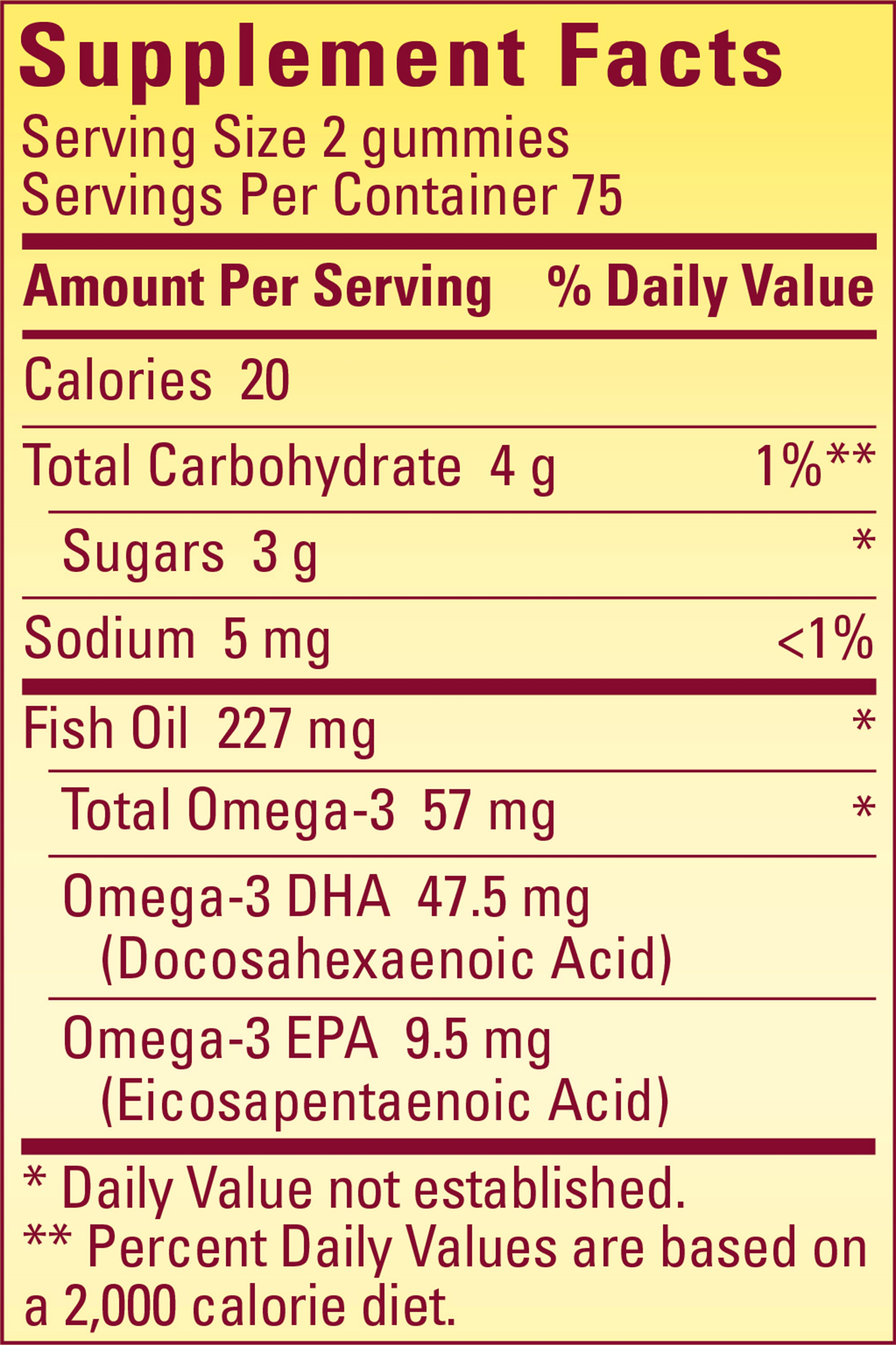 Nature made fish oil adult gummies 57 mg of for Fish oil nutrition facts
