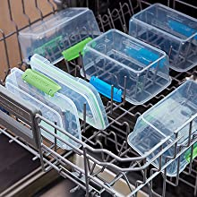 Containers are easy-care and top-rack dishwasher safe.