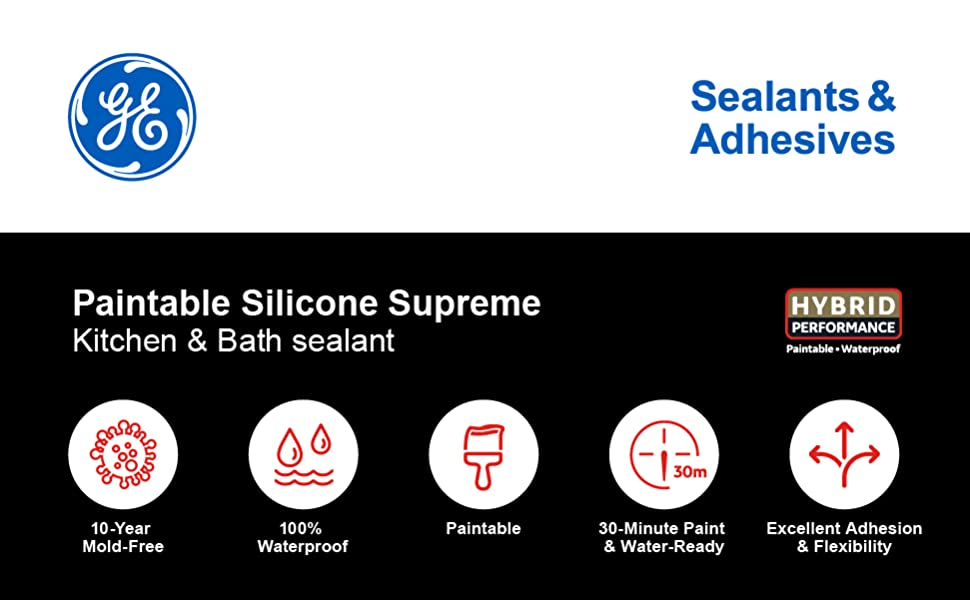 Ge Sealants Adhesives M90025 30 Paintable Silicone Supreme Kitchen Bath Sealant 10 1oz White 12 G Silicone Caulk Amazon Com