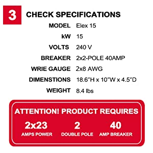 check specifications of thermoflow Elex 15