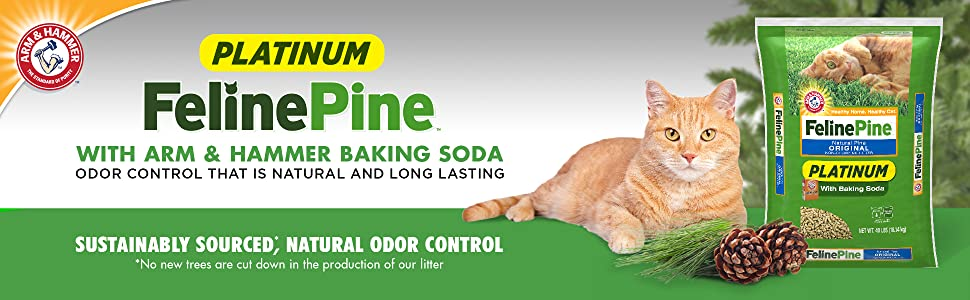 Amazon Com Feline Pine Platinum Natural Pine Original Non Clumping Cat Litter With Baking Soda 40 Lb Pet Supplies