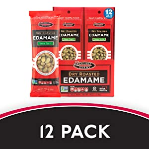 """A 12-pack box of 1.58 oz. Sea Salt Edamame packets. Text reads """"12-Pack."""""""