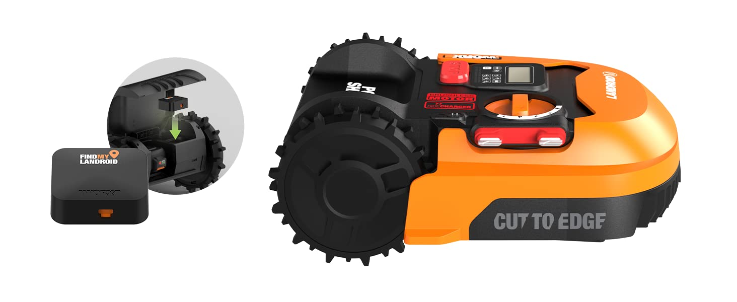 cut to edge, find my landroid included, brushless motor, robotic mower, landroid