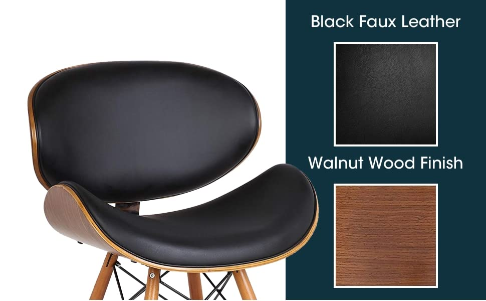Black, Wood, Cushion Seat, Cushion back