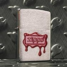 zippo logo lighter, logo lighters, wax seal lighter, brushed chrome lighter, emblem lighter, zippo