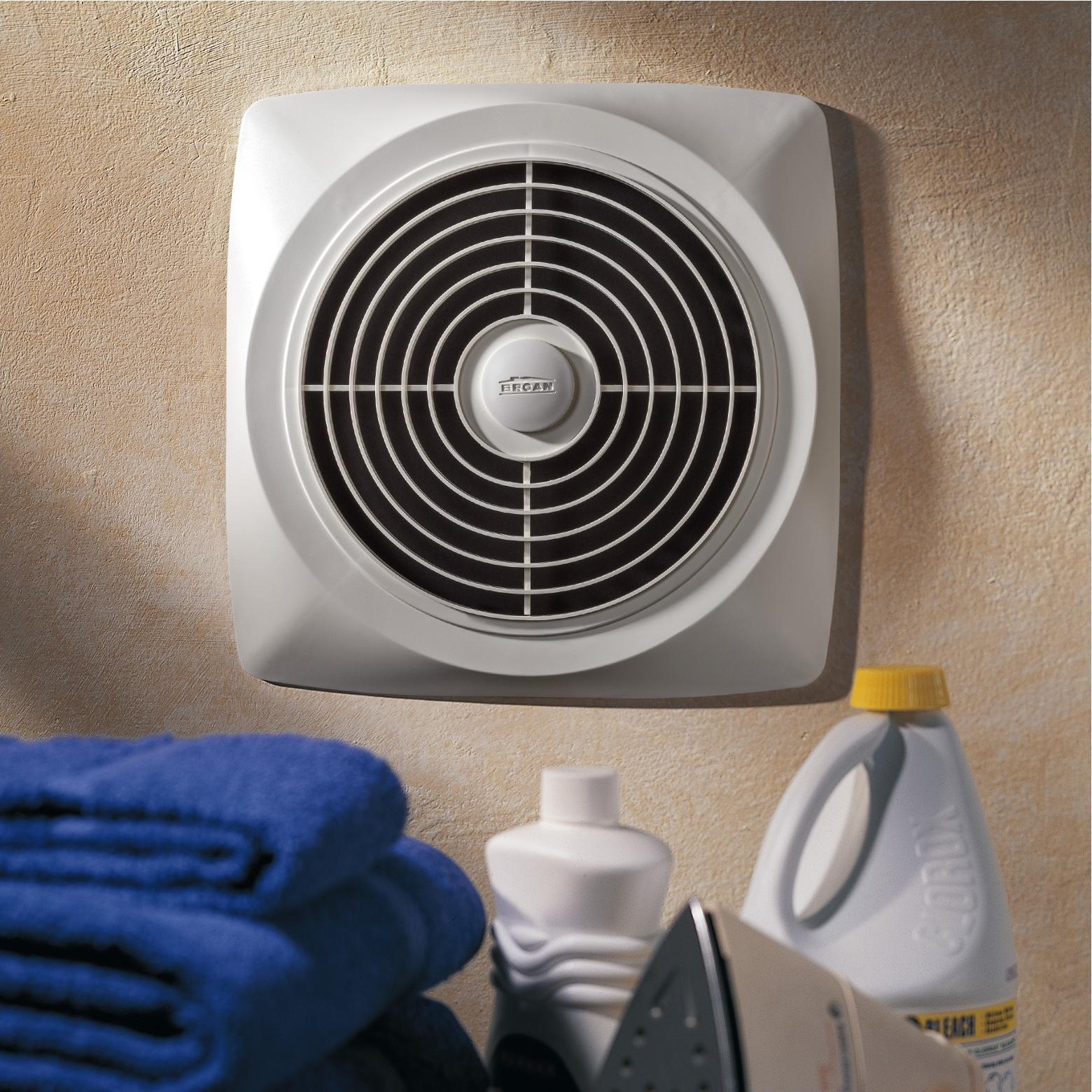 Broan-Nutone 507 Chain-Operated Ventilation Fan, Plastic White Square  Exhaust Fan, 7.0 Sones, 250 CFM, 8\