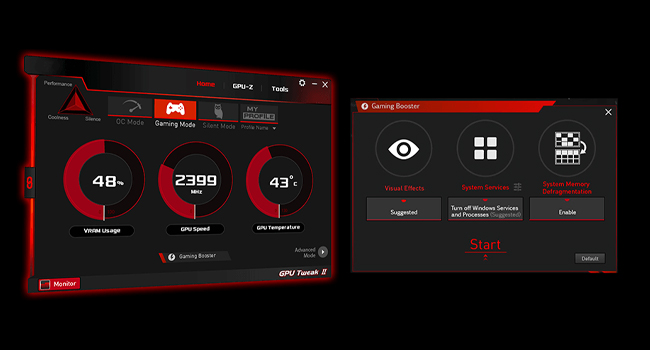 An advanced onboard controller brings fans to a standstill when the GPU core temperature is below