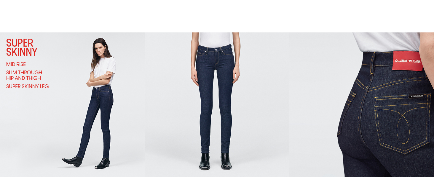 Calvin Klein Womens Mid Rise Super Skinny Fit Jeans