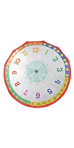 parachute, play, kids, learning, clock