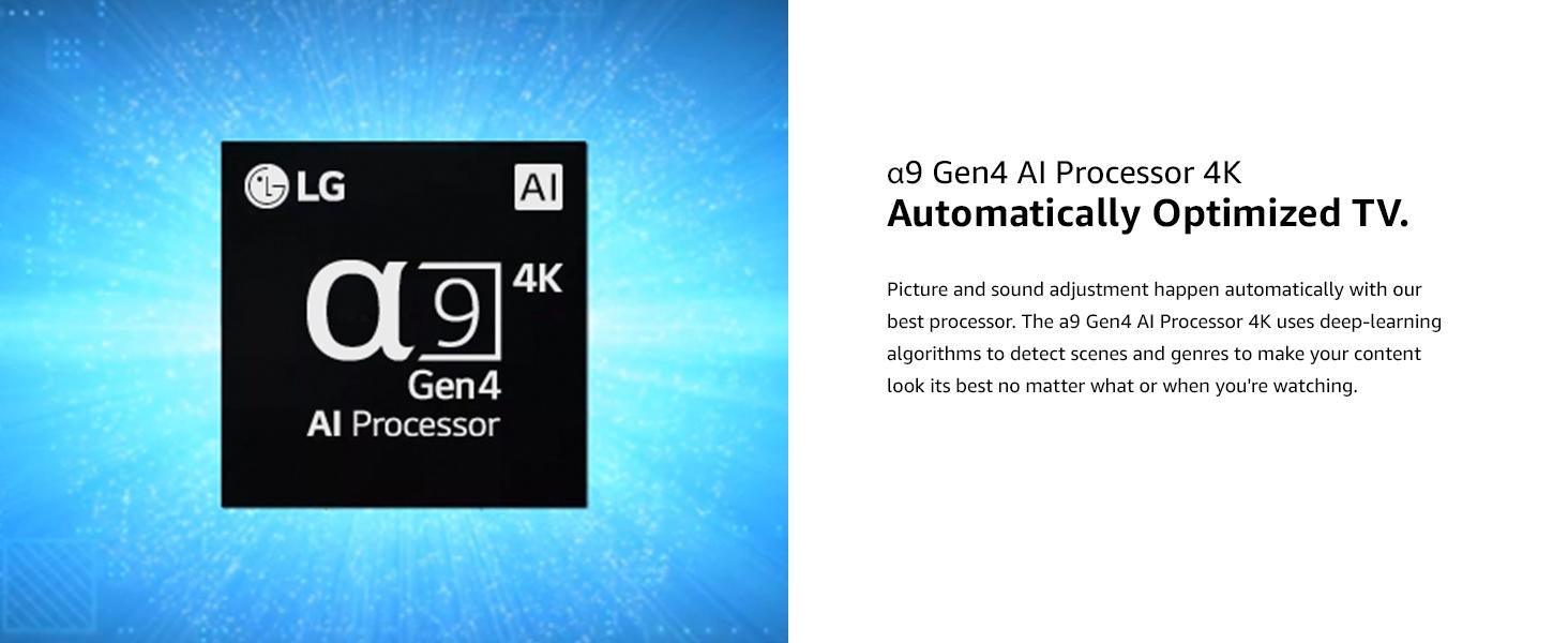 a9 gen 4k ai processor, automatically optimized tv