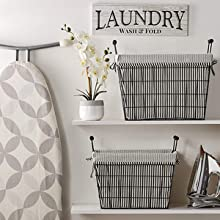wire storage with liner farmhouse decor fixer upper laundry room storage